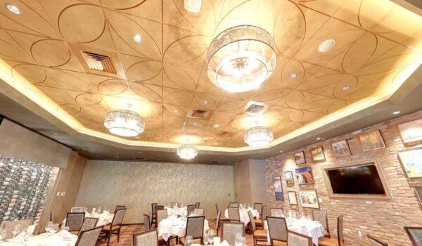 Details Acoustical Tiles in Custom color Bronze. Application: Steak House. Designer: Beth Donner Design