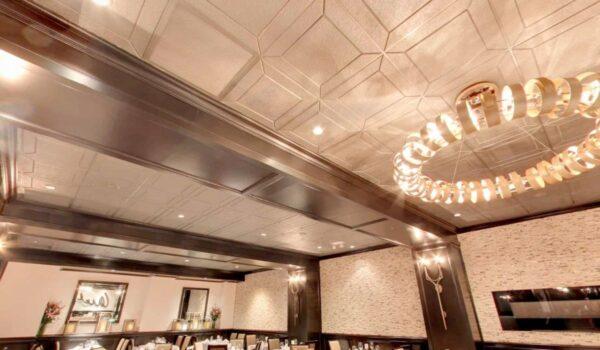 Details Acoustical Tiles in Custom color Champagne Metallics. Application: Steak House. Designer: Beth Donner Design