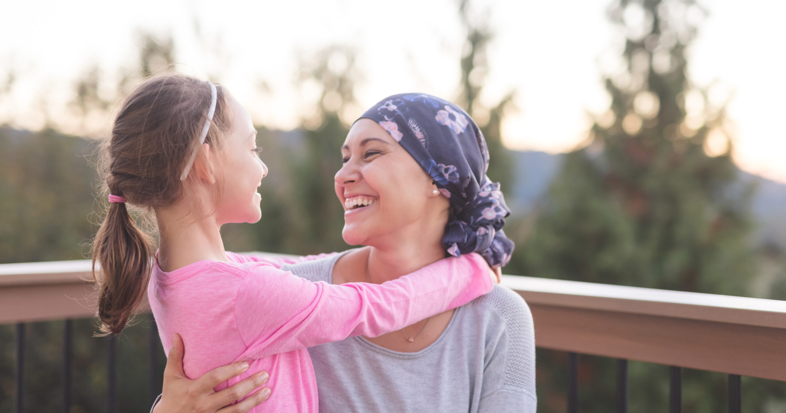 mom battling breast cancer with daughter