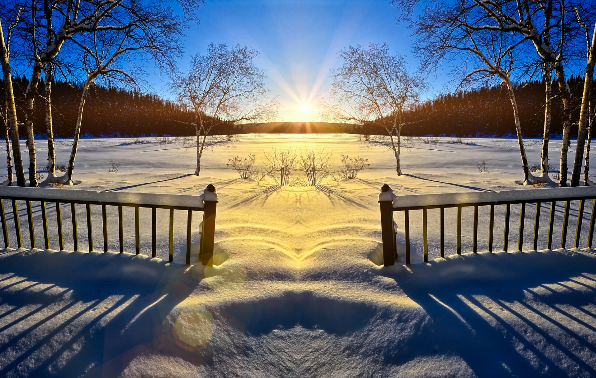 sunset in snowy landscape