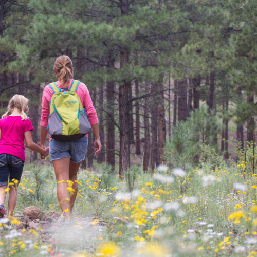 When you keep naturopathic care a priority, it opens up time to enjoy life.. A mom and daughter going for a walk in Flagstaff, Arizona.