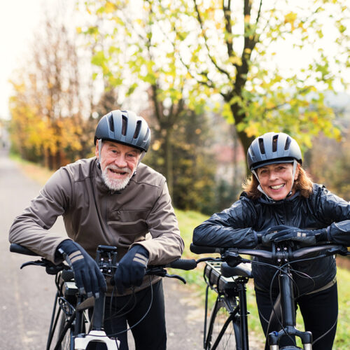 Oxygen-rich therapy allows accelerated healing of the body. An older couple riding bikes in Flagstaff, Arizona.