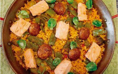 Paella de Salmón coles, bachoqueta y setas