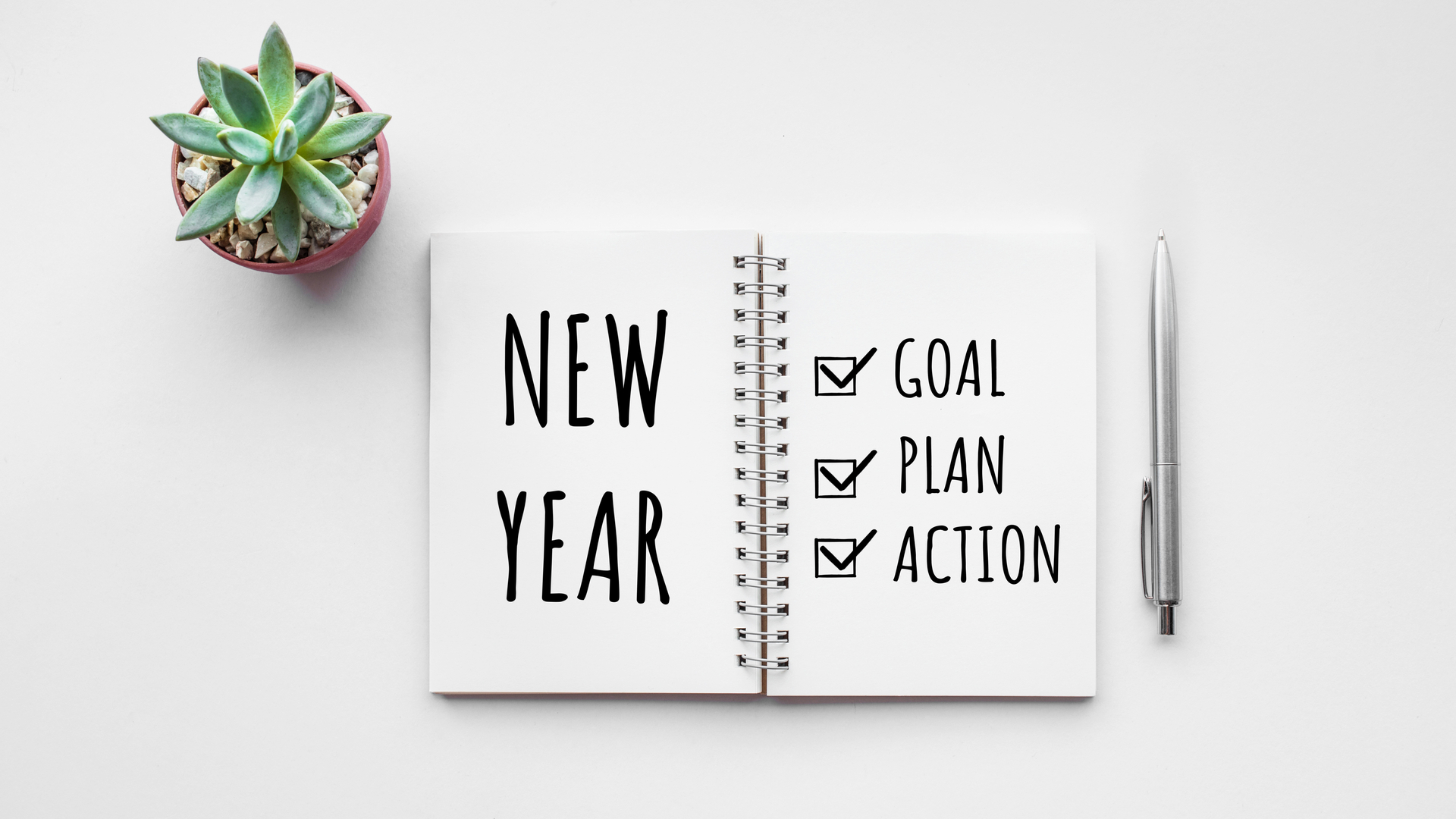 Notebook with New Year written on one side. Goal, Plan, and Action written on the other. Succulent and a pen are also extremely necessary here.