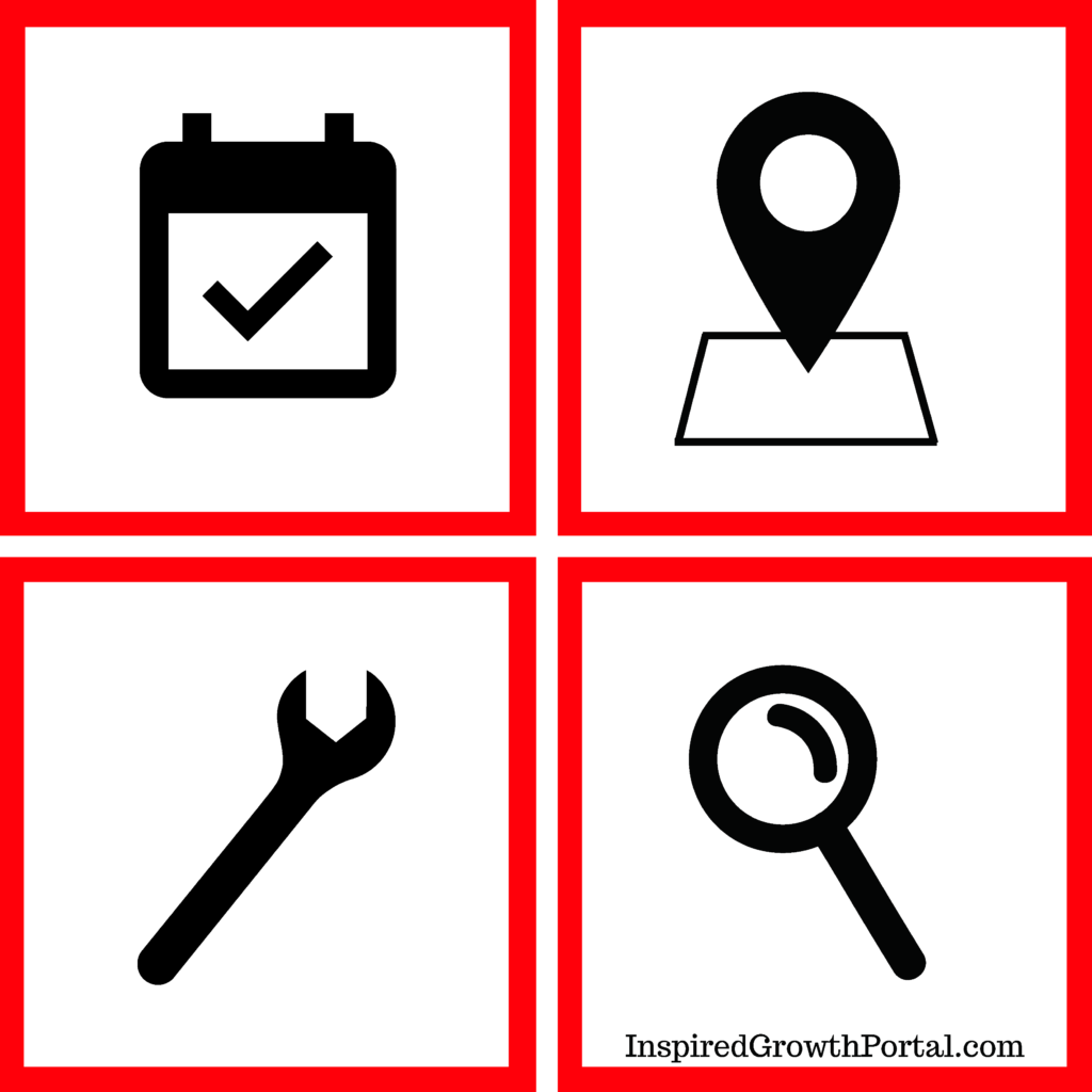 key seo strategies graphic with a calendar a location a wrench and a magnifying glass icon