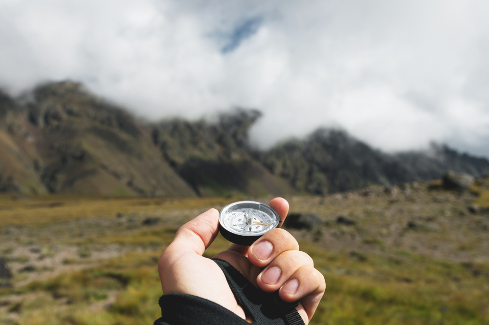 Strategy - a hand holding a compass wondering which way to go