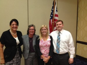 Lisa Gelsomini, Donna Mullins, Laurie Arnold and Craig Clark after the AIFBA / Avalon Risk Management luncheon program.