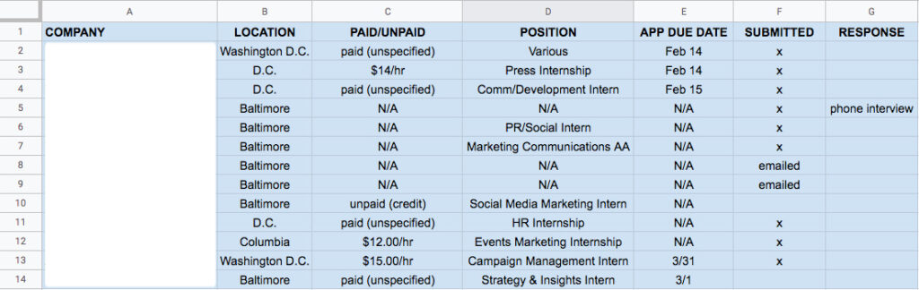 spreadsheet to keep track of the PR internships I applied for