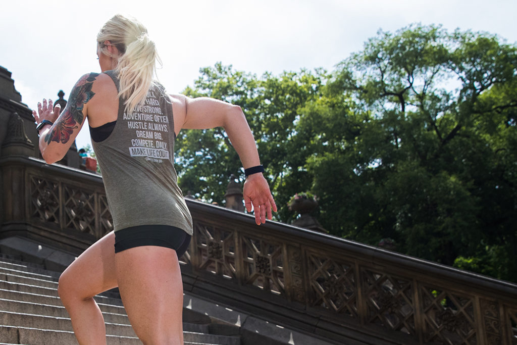 Competitor running stairs