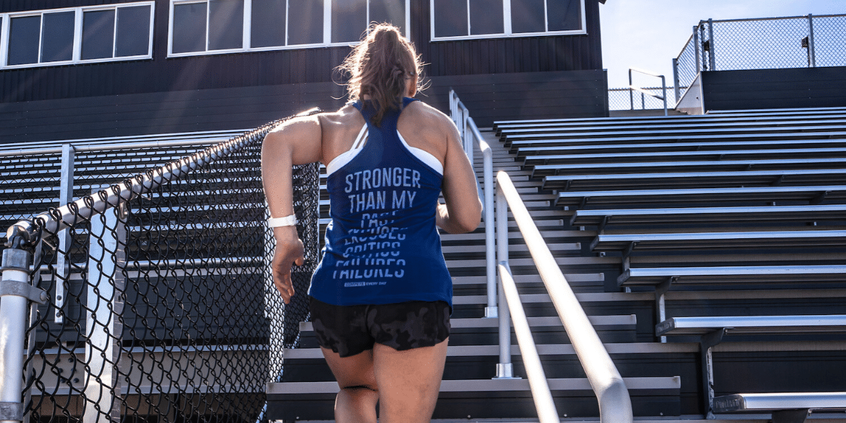 Compete Every Day run stairs Stronger tanktop