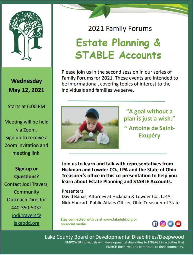 Family Forum – Estate Planning & STABLE Accounts