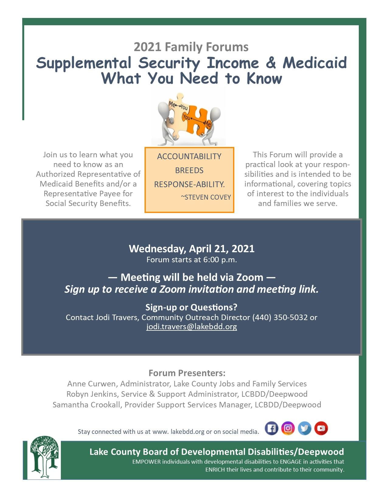 Family Forum – SSI & Medicaid