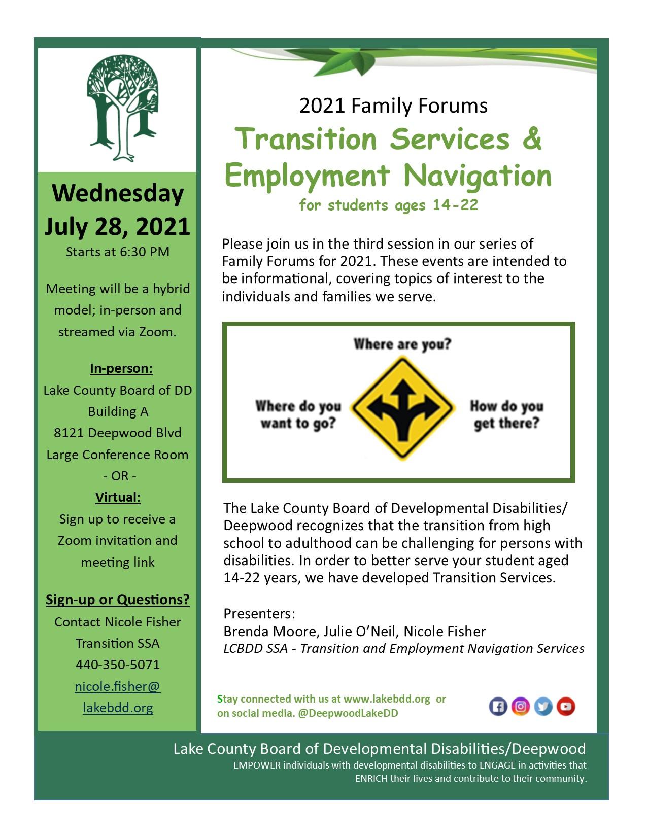 Family Forum: Transition Services & Employment Navigation