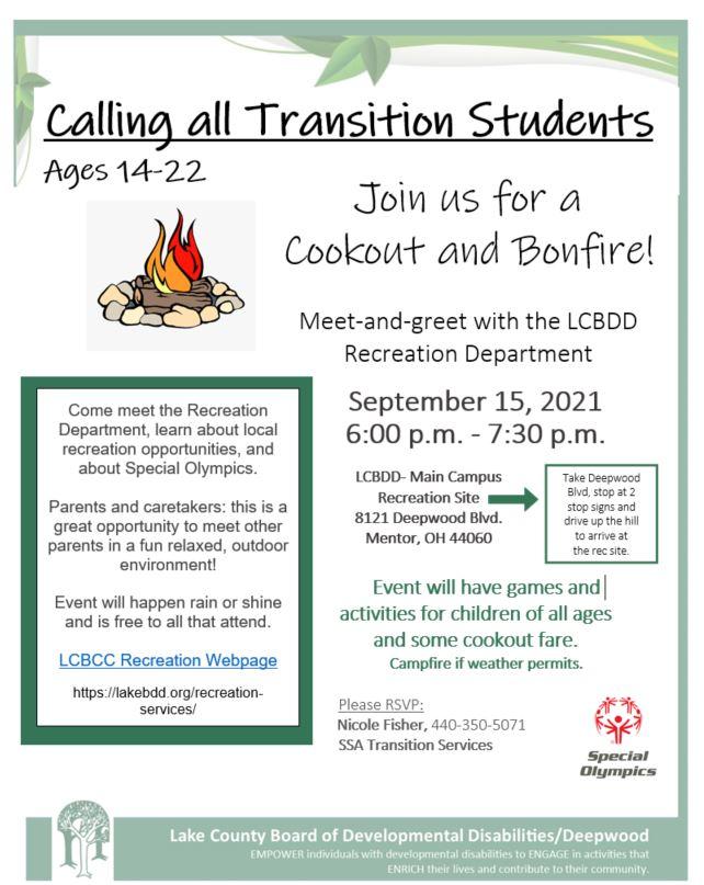Transition-Age Students Cookout & Bonfire