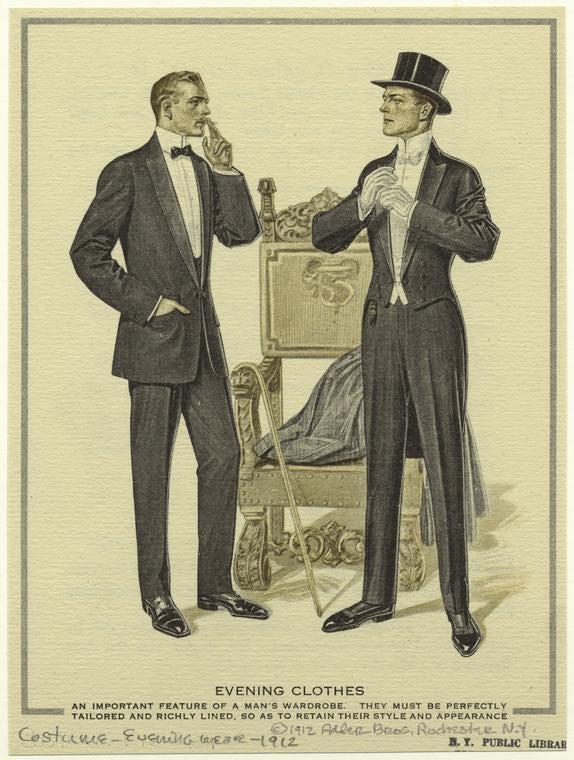 القصة الكاملة للبدلات الرسمية وأمور غريبة أخرى- إعلان عام 1912