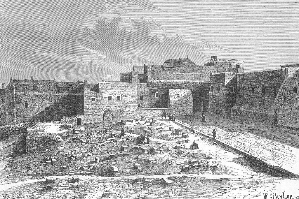 محافظة بيت لحم واقتصادها : رسم لكنيسة المهد قديمة