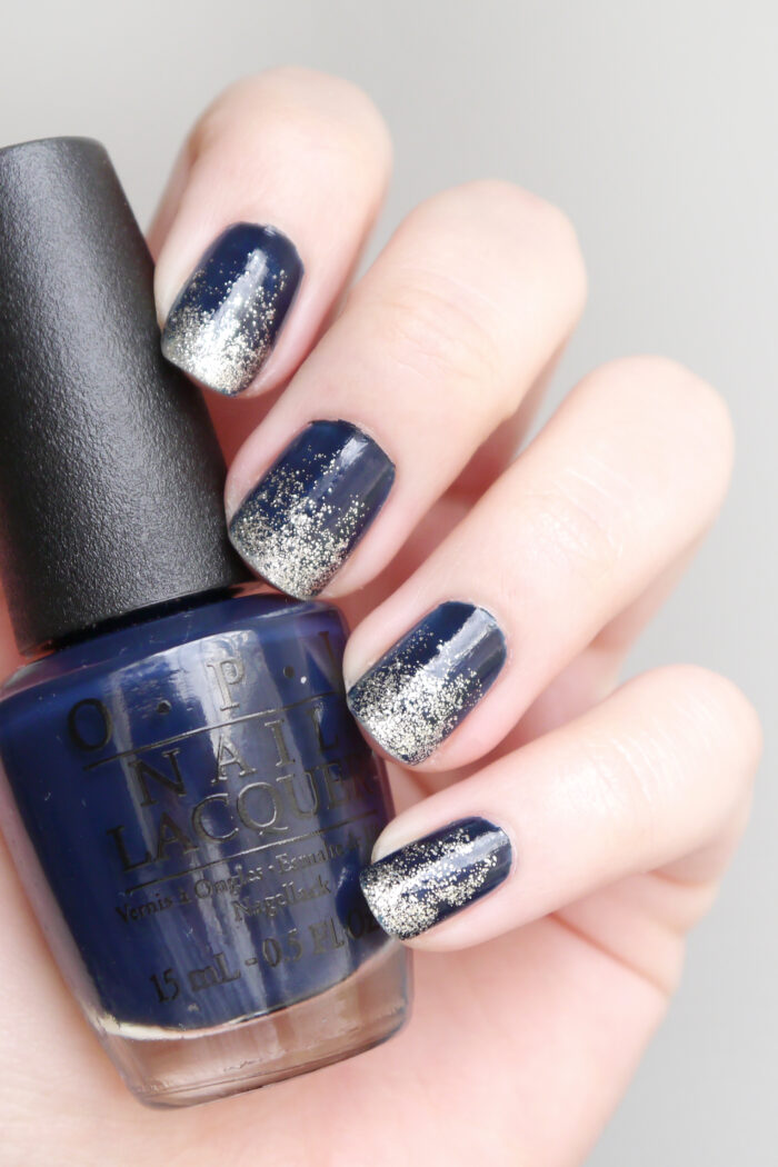 Mani Day: Navy To Silver Ombré
