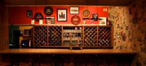 Altony's wine racks with dozens of bottles to choose from.