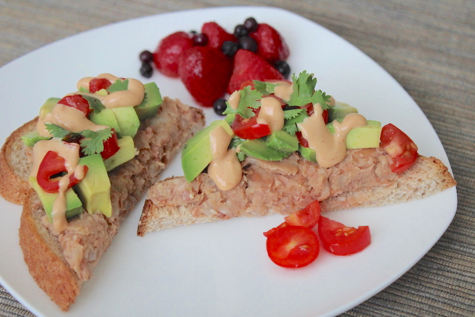 Avocado and Fat-Free Refried Bean Toast