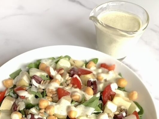 Mediterranean Salad with Cucumber-Dill Dressing