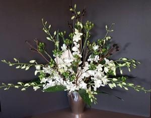Sympathy white orchids black pussywillow flower arrangement