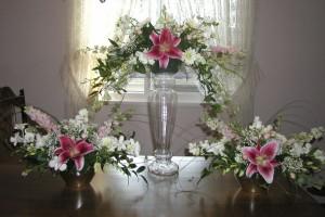 pink lily arrangements