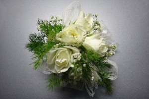roses + pearls corsage
