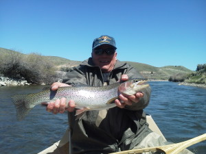 Fred shows off his catch. A beautiful Beaverhead River rainbow