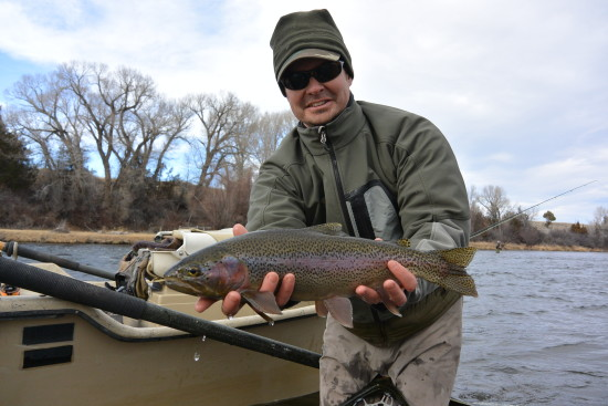 Eric shows off a nice Madison River rainbow!