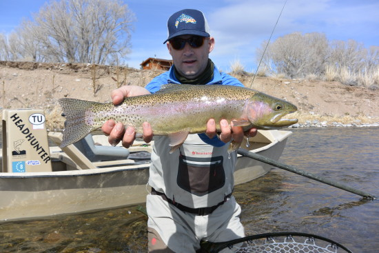Kyle shows us a fine Madison River Rainbow trout!