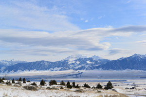 The snow covered Madsion Mountains near Ennis Montana.