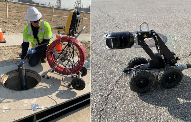 video pipe inspection. robot