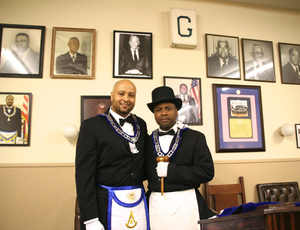 PM Ross with newly elected WM Damarcus Thomas for the 2013-2014 ensuing masonic year