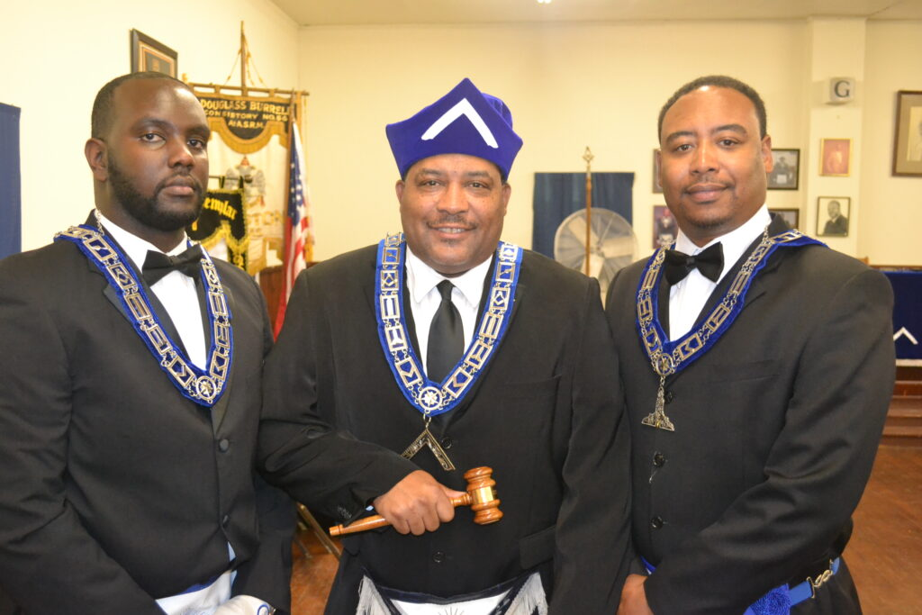 JW Kwame Cyrus, WM William Johnson & SW Christopher Houston 2015 Election Night
