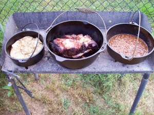 Pork Shoulder, Scalloped Potatoes and BBQ Pintos