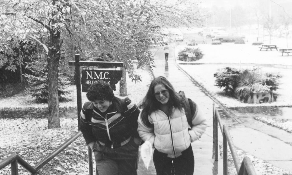 Two students walking up the Hello Walk (about 1986)