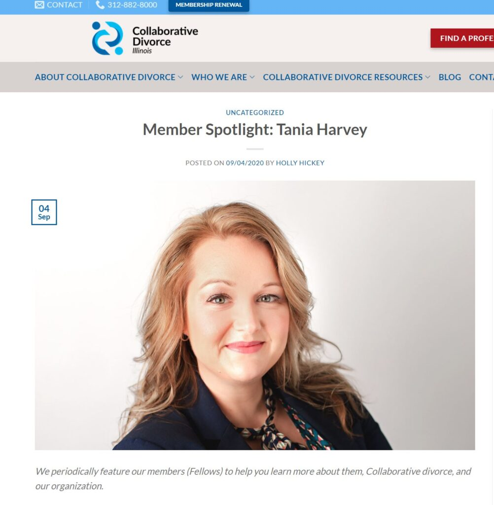 Tania K. Harvey - Highlighted for her insight on collaborative divorce and co parenting