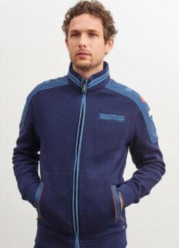 saintjames-cardigan-bleu-zippe-et-details-contrastes-avec-surpiqures