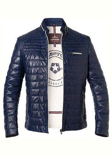 milestone-blouson-cuir-leger-design-sportif-et-finition-vintage-marine