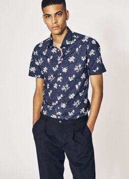 sand-la-chemise-cintree-bicolore-en-popeline-de-coton-manches-courtes