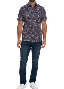 robert-graham-la-chemise-sport-manches-courtes-imprime-disque-vinyle-vintage
