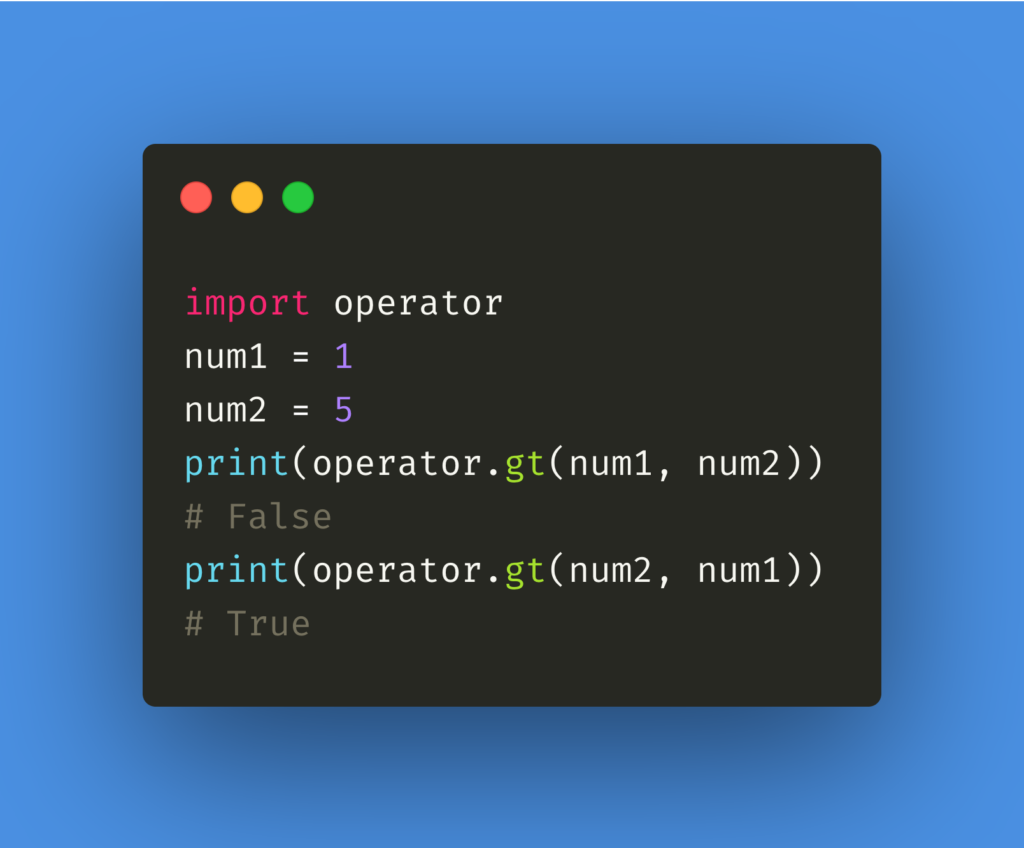 greater than operator in python