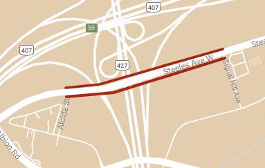 Carte montrant l'emplacement des restrictions temporaires des voies de l'avenue Steeles entre la rue Alcide et l'avenue Signal Hill