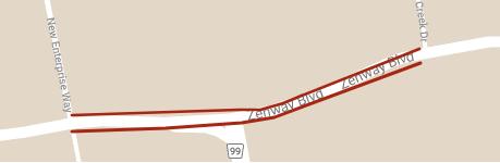 Carte montrant l'emplacement des réductions temporaires des voies à long terme du boulevard Zenway entre la voie New Enterprise et le promenade Rainbow Creek