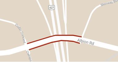 Carte illustrant la fermeture du chemin Albion entre le bouelvard Steinway et le croissant Codlin