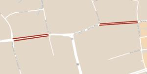 Carte montrant l'emplacement des réductions temporaires des voies à long terme du boulevard Zenway