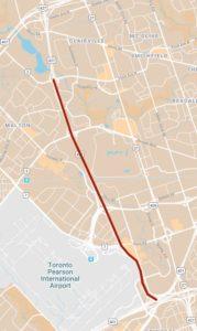 Carte montrant les fermetures de l'autoroute 427 entre l'autoroute 401 et l'avenue Finch