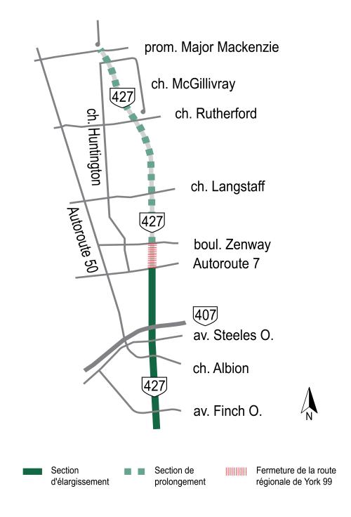 Carte cliquable des perturbations temporaires de la circulation, soulignant la fermature permanente de la route régionale de York 99