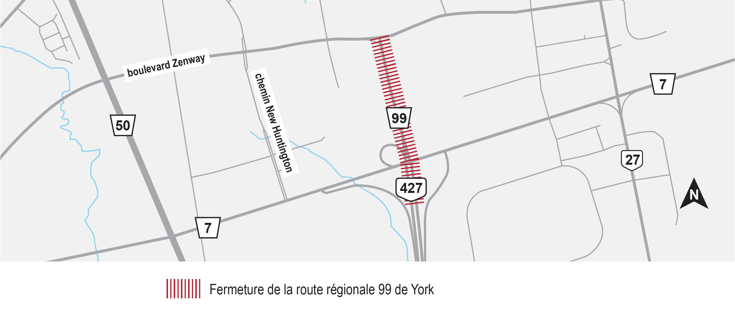 Carte illustrant l'emplacement de la fermeture permanente sur l'autoroute 427 (légalement connue sous le nom de la route régionale de York 99) entre l'autoroute 7 et le boulevard Zenway