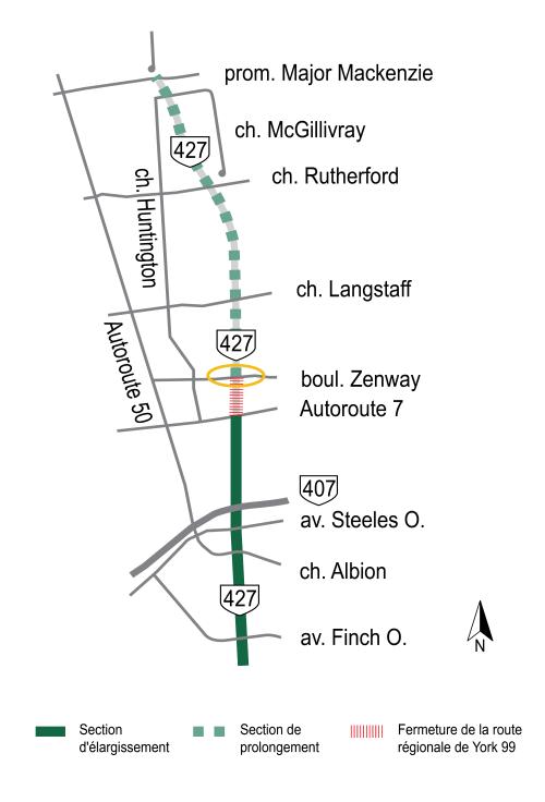 Carte cliquable des perturbations temporaires de la circulation, soulignant la fermature permanente de la route régionale de York 99 et la fermeture temporaire du boulevard Zenway
